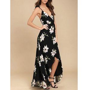 Coventavenue - Open Back Floral Slit Dress Gown
